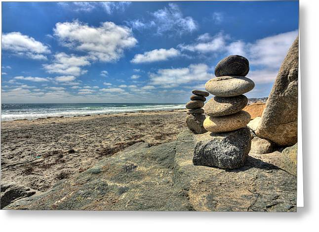 California Beach Art Greeting Cards - Cardiff Stacks Greeting Card by Peter Tellone