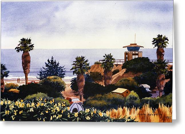 Camping Greeting Cards - Cardiff State Beach Greeting Card by Mary Helmreich