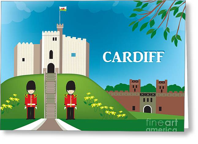 Wales Framed Prints Greeting Cards - Cardiff Wales Skyline - Cardiff Castle - Cardiff Guards Greeting Card by Karen Young