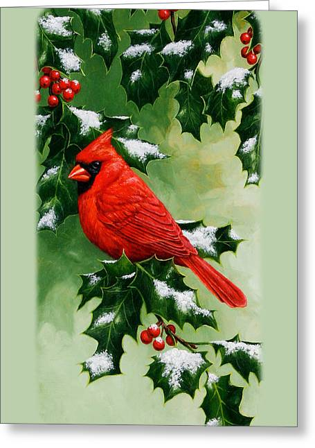 Song Bird Greeting Cards - Male Cardinal and Holly Phone Case Greeting Card by Crista Forest