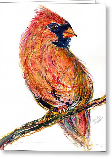 Pondering Paintings Greeting Cards - Cardinal Greeting Card by Beverly Bronson