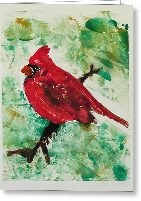 Hand Pulled Print Greeting Cards - Cardinal Greeting Card by Cori Solomon