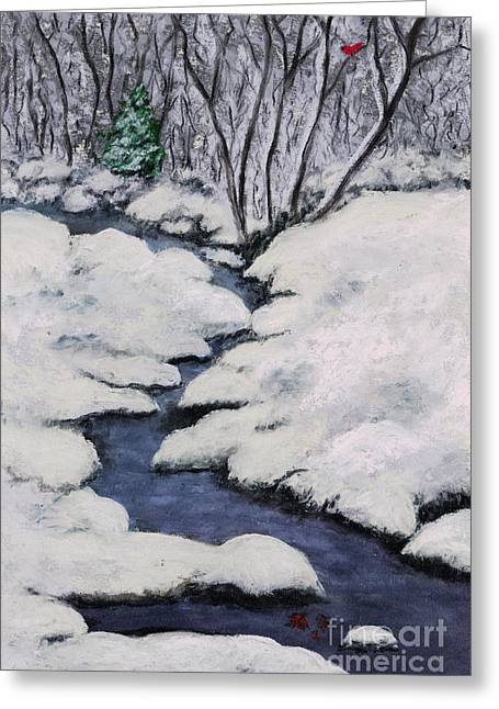 Brook Pastels Greeting Cards - Cardinal Creek Greeting Card by Ginny Neece