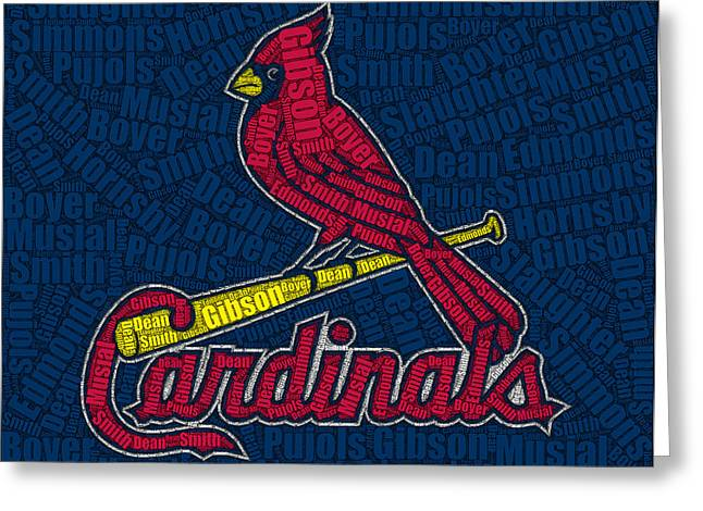 Player Drawings Greeting Cards - Cardinal Greats Mosaic Greeting Card by Paul Van Scott