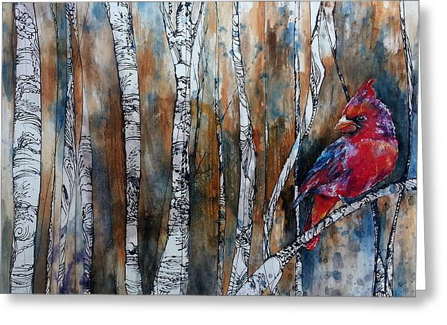 Birch Tree Greeting Cards - Cardinal in Birch Tree Forest Greeting Card by Christy  Freeman