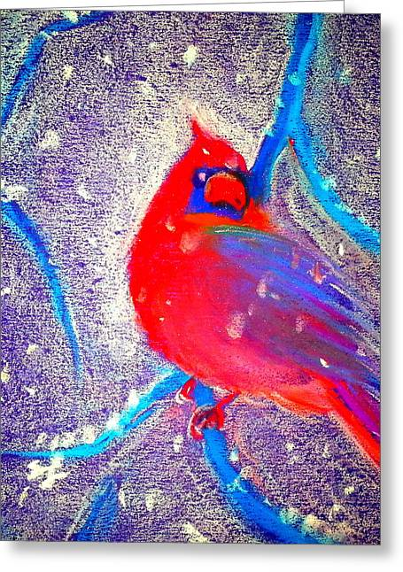 Winter Night Greeting Cards - Cardinal in snow Greeting Card by Sue Jacobi