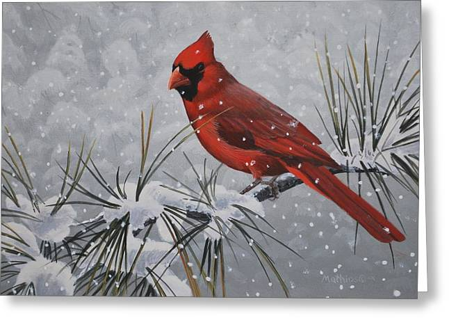 Peter Mathios Greeting Cards - Cardinal in the Snow Greeting Card by Peter Mathios