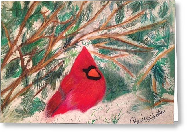 Winter Scene Pastels Greeting Cards - Cardinal in the Snowy Pines Greeting Card by Renee Michelle Wenker
