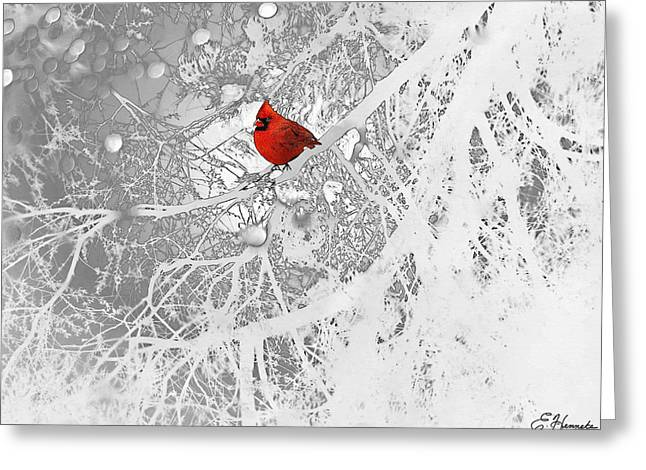 Trees In Snow Drawings Greeting Cards - Cardinal In Winter Greeting Card by Ellen Henneke