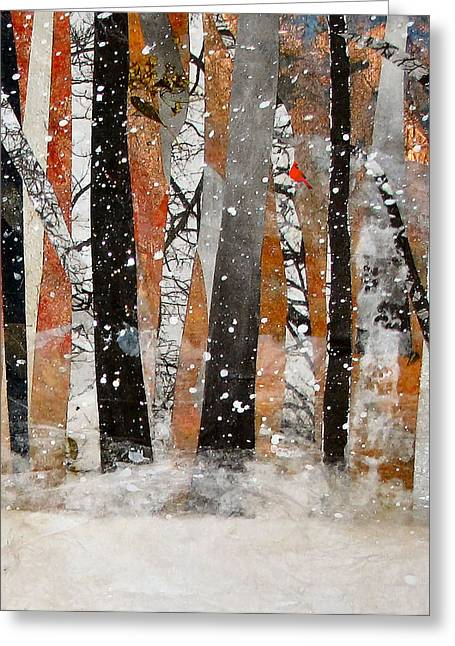 Winter Trees Mixed Media Greeting Cards - Cardinal in Woods Greeting Card by Barbara Kinnick