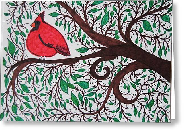 Bird On Tree Drawings Greeting Cards - Cardinal Greeting Card by Ivory Bean