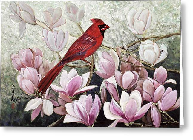 Pink Flower Branch Greeting Cards - Cardinal Greeting Card by Komi Chen