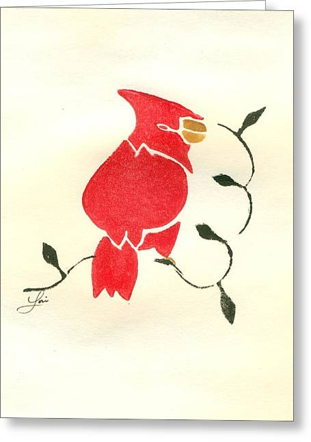 Lino Paintings Greeting Cards - Cardinal Greeting Card by Lori Johnson