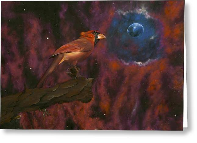 Shiny Pastels Greeting Cards - Cardinal of Cassiopeia Greeting Card by Eric Allen