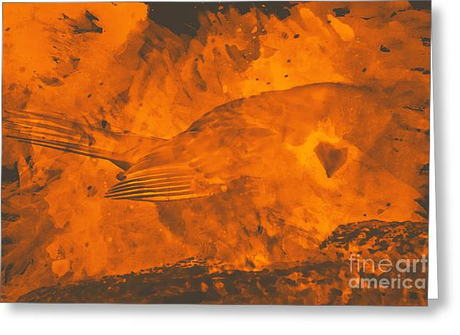 Cardinals Mixed Media Greeting Cards - Cardinal on fire Greeting Card by Celestial Images