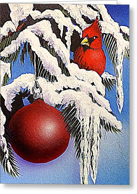 Snow Scene Mixed Media Greeting Cards - Cardinal One Ball Greeting Card by Darren Robinson