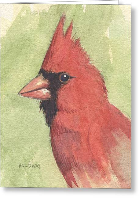 Red Cardinals Greeting Cards - Cardinal Portrait Greeting Card by John Holdway