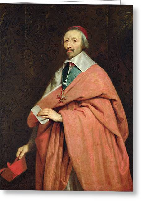 Statesman Greeting Cards - Cardinal Richelieu 1585-1642 C.1639 Oil On Canvas Greeting Card by Philippe de Champaigne