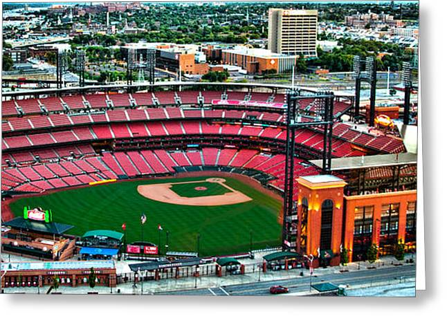 Baseball Stadiums Greeting Cards - Cardinal Stadium Greeting Card by Cindy Tiefenbrunn