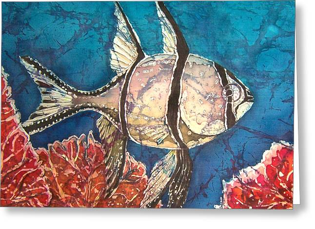 Aquatic Tapestries - Textiles Greeting Cards - Cardinalfish Greeting Card by Sue Duda