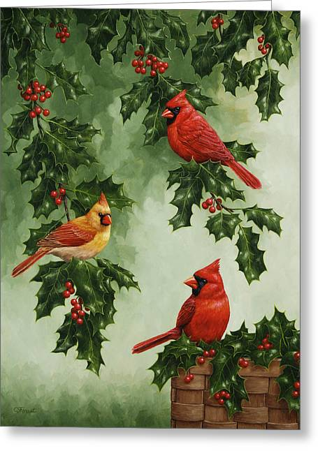 Holiday Greeting Greeting Cards - Cardinals and Holly - Version without Snow Greeting Card by Crista Forest