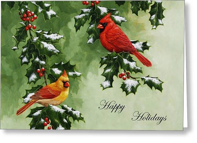 Red Berries Greeting Cards - Cardinals Holiday Card - Version with snow Greeting Card by Crista Forest