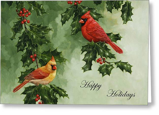 Red Berries Greeting Cards - Cardinals Holiday Card - Version without snow Greeting Card by Crista Forest