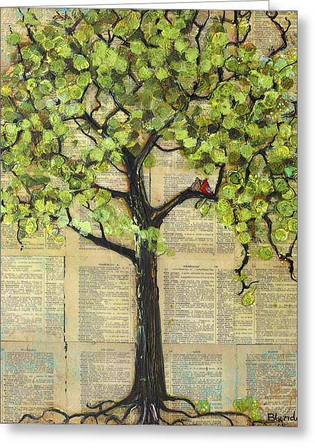 Love Bird Greeting Cards - Cardinals in a Tree Greeting Card by Blenda Studio