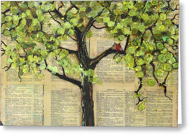 Cardinals in a Tree Greeting Card by Blenda Studio