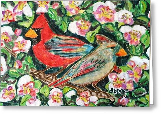 Cardinals In An Apple Tree Greeting Card by Diane Pape