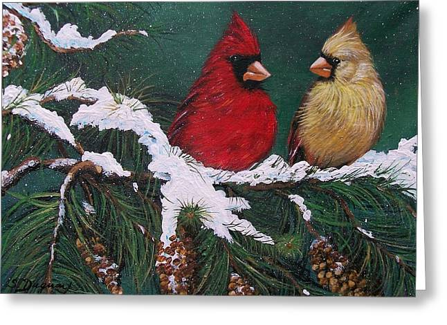 Snow Tree Prints Greeting Cards - Cardinals in the Snow Greeting Card by Sharon Duguay