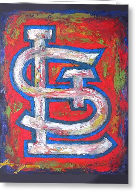 Impressionistic Poster Greeting Cards - St Louis CARDINALS Baseball Greeting Card by Dan Haraga