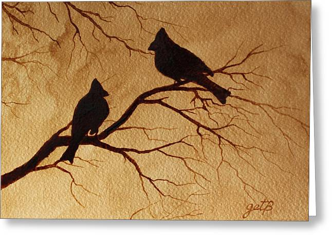 Bird On Tree Paintings Greeting Cards - Cardinals Silhouettes coffee painting Greeting Card by Georgeta  Blanaru