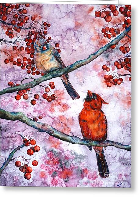 Best Sellers -  - First Love Greeting Cards - Cardinals  Greeting Card by Zaira Dzhaubaeva