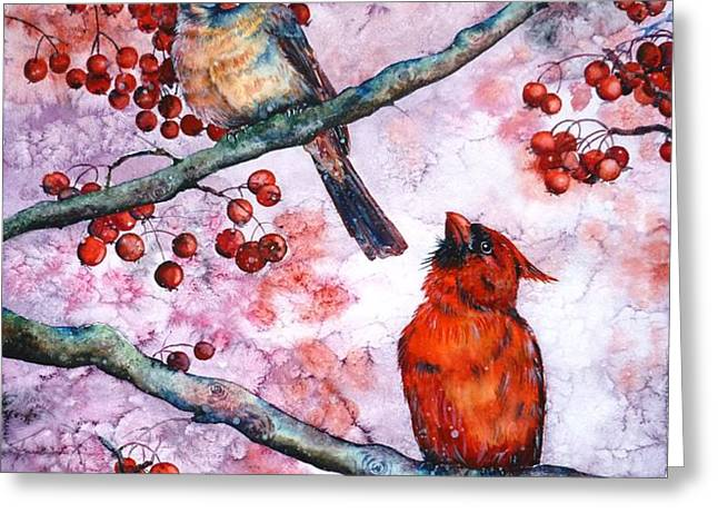 Cardinals  Greeting Card by Zaira Dzhaubaeva