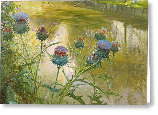C20th Greeting Cards - Cardoons Against The Moat Oil On Canvas Greeting Card by Timothy Easton