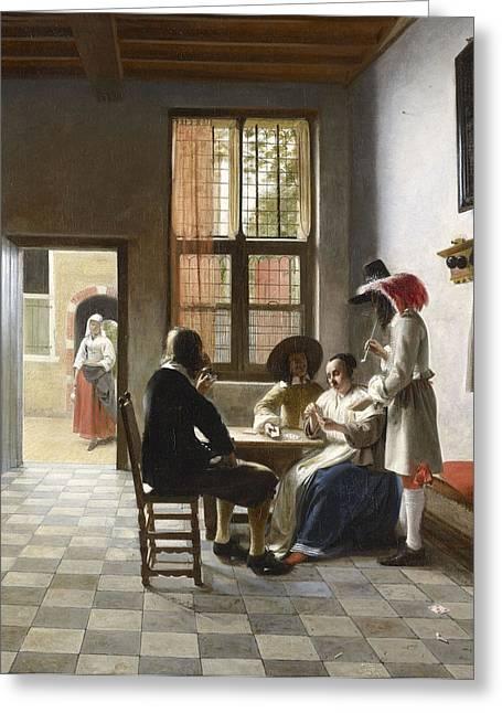 Cardplayers In A Sunlit Room Greeting Card by Pieter de Hooch