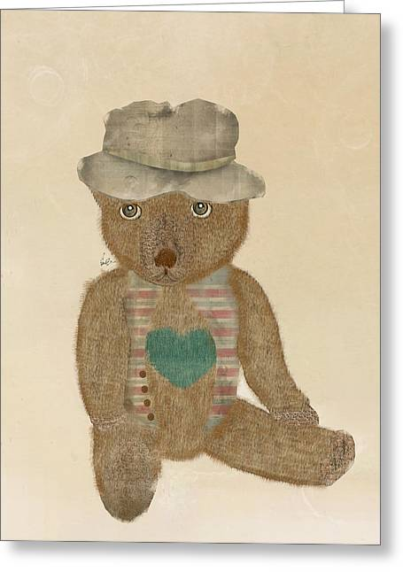 Brown Bear Digital Greeting Cards - Care Bear Greeting Card by Bri Buckley