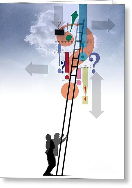 Prospects Greeting Cards - Career Ladder, Conceptual Artwork Greeting Card by Hans-ulrich Osterwalder