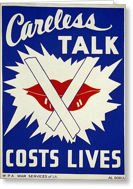 Careless Talk Greeting Cards - Careless Talk Costs Lives Greeting Card by Digital Reproductions