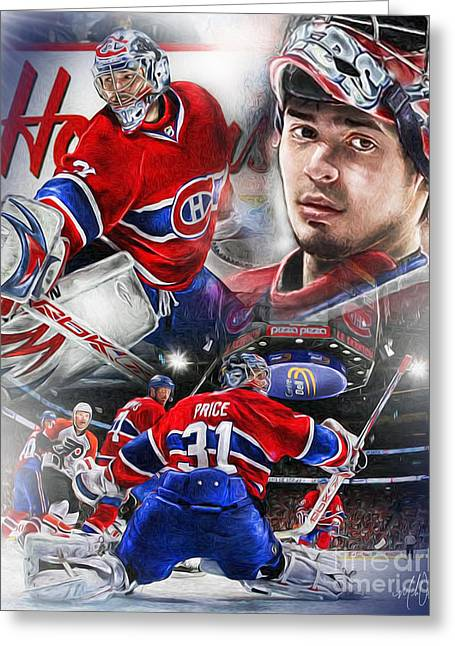 Goaltender Greeting Cards - Carey Price Greeting Card by Mike Oulton