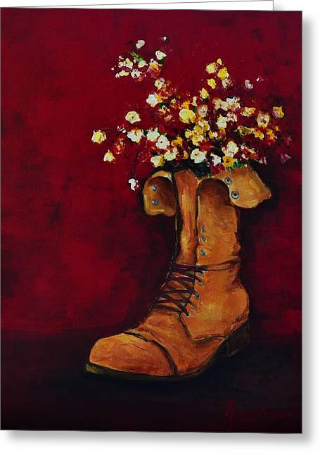 Buy Posters Online Greeting Cards - Cargo Boot Series Unusual Flower Pot Greeting Card by Patricia Awapara