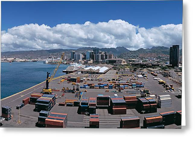 Commercial Photography Greeting Cards - Cargo Containers At A Harbor, Honolulu Greeting Card by Panoramic Images