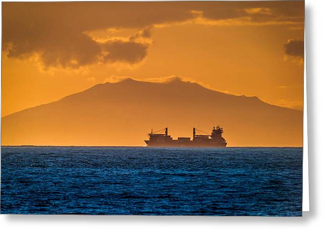 Solstice Greeting Cards - Cargo Ship At Sunset Greeting Card by Panoramic Images