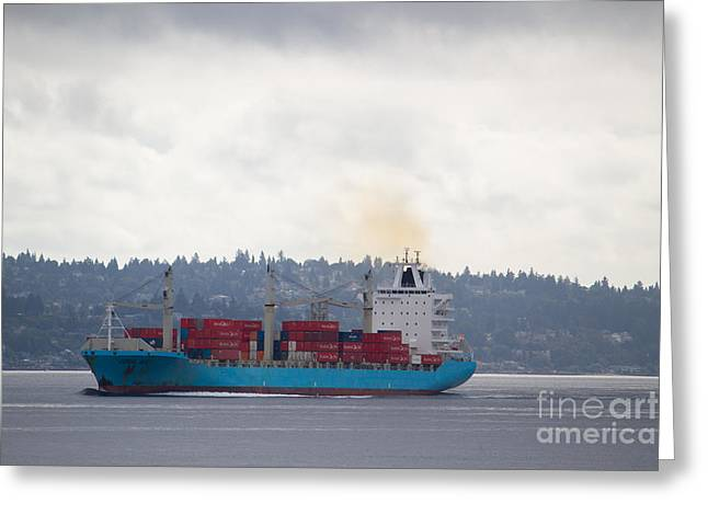 Bloat Greeting Cards - Cargo Ship Greeting Card by Denise Lilly
