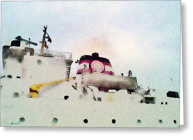 Ship Pastels Greeting Cards - Cargo Ship Greeting Card by Jeanette Charlebois