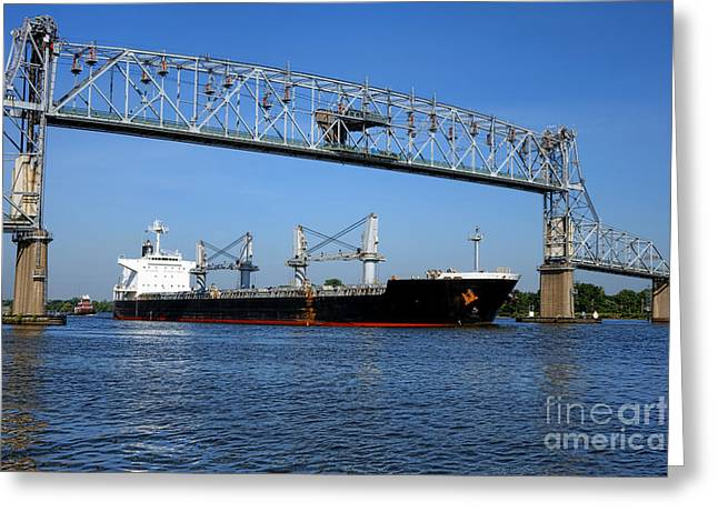 Cargo Ship Under Bridge Greeting Card by Olivier Le Queinec