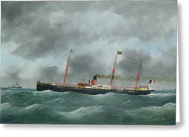 Steam Ship Greeting Cards - Cargo Steamship Flying The Flag Of The Le Havre Peninsular Company Oil On Canvas Greeting Card by French School