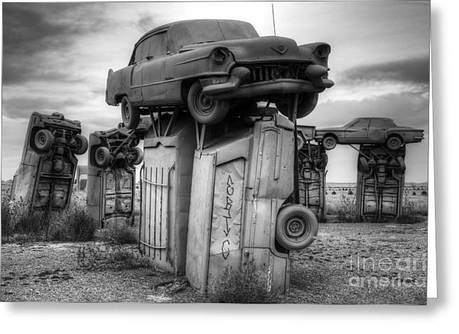 Canadian Photographer Greeting Cards - Carhenge Automobile Art 4 Greeting Card by Bob Christopher