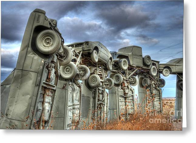 Canadian Photographer Greeting Cards - Carhenge Automobile Art Greeting Card by Bob Christopher